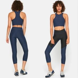 Outdoor Voices 3/4 Two Tone Leggings Navy Charcoal